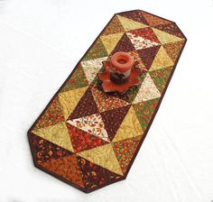 Quilted Fall Triangles Table Runner for Autumn by QuiltSewPieceful, $40.00