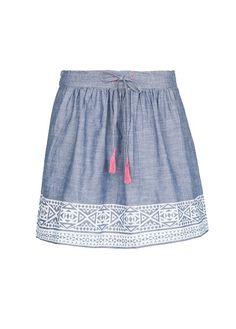 MANGO - Ethnic print denim skirt