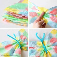 Towel Butterflies paper towel butterflies, trying this next!paper towel butterflies, trying this next! Craft Projects For Kids, Fun Crafts For Kids, Summer Crafts, Art For Kids, Arts And Crafts, Paper Crafts, Craft Ideas, Art Projects, Diy Paper