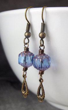 Glass Beaded Dangle Earrings Iridescent Violet