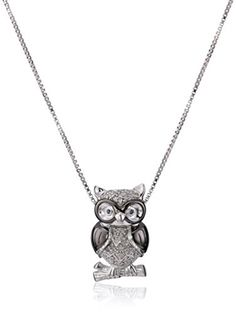 Sterling Silver White Diamond Owl Pendant Necklace 110 cttw IJ Color I3 Clarity * You can find out more details at the link of the image.