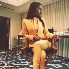 Teyana Taylor. Mustard yellow pants suit. Class. Fashion. Love this outfit!