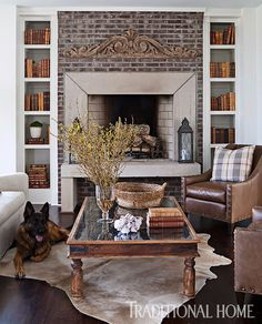 Although the design skews masculine, all are welcome in the library—including the family's German shepherd. - Photo: Paige Rumore / Design: Rachel Halvorson
