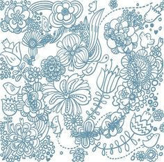 Vector Vintage Floral Pattern in Blue