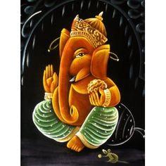 (SKU NO:ganesha painting 105) Indian Hindu God Lord Ganesha Ganesh Tapestry Handmade Art Oil Painting on Velvet Fabric Wall Hanging 28 X 22, Krishna Mart India