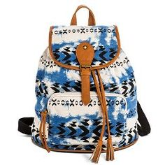 Women's Aztec Print Tie Dye Backpack Handbag - Blue