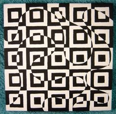 "Stacia-- 6x6"" --Black and White Geometric Square & Swirl Op Art Design OOAK original painting on canvas"