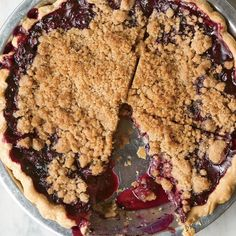 We love how the cinnamon-scented         streusel topping lets the juicy         berries peek through.