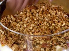 Simple Homemade Granola (cinnamon, ground ginger, honey, oil, maple syrup, vanilla, whole oats, pecans, crisped rice cereal, flax seed)