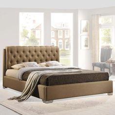 AMELIA QUEEN FABRIC BED IN BEIGE - Mocofu