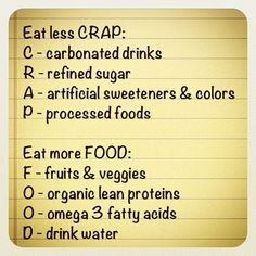 "Eat less ""CRAP"". Eat more ""FOOD""."
