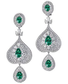 Bapalal Keshavlal 18k white gold drop earrings with emerald centers surrounded by diamonds