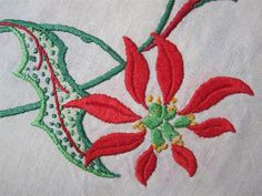 Hand Embroidered Vintage TABLECLOTH CHRISTMAS Emblem in each corner 85cms x 78cms 100% Quality Linen *Washed *Starched *Ironed