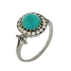ring - Edwardian Platinum Turquoise & Diamond