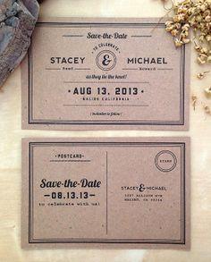 Rustic Kraft Paper Save the Date Postcard  Retro by DonajiMejia, $1.25