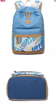 Fresh Leaves Patterns Printing Designed School Bag Leisure College Canvas Backpack #bag #backpack #school #leaves Canvas Tent, Canvas Frame, Canvas Size, Canvas Designs, Canvas Ideas, College Canvas, Retro Backpack, Fresno State, Canvas Backpack