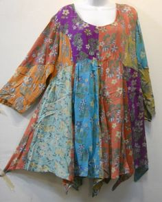 Funky Stuff Stonewashed Patch Hanky Top Dress XL Check Measurements Free SHIPPIN | eBay