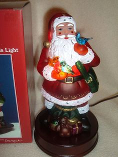1999 Santa With Feathered Friends Light