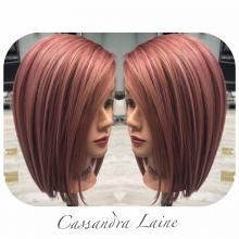 "When MODERN saw this rose gold color design on Cassandra McGlaughlin's instagram page (@CassandraPlatinum) we had to get more information. McGlaughlin, a top educator (with Paul Mitchell) and salon owner (Platinum Salon Tampa, Tampa, Florida), has learned to use whatever time she has available to test formulas and practice her art on the many mannequin heads she keeps in the salon just for that purpose. ""I always encourage my stylists to practice all the time,"" says McGlaughlin."
