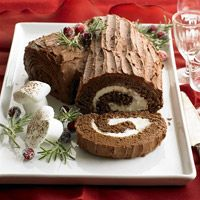 Buche de Noel, I typically make one of these for Christmas dessert. But I cheat and buy the meringue mushrooms!