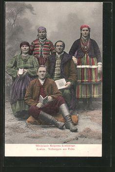 Folk costumes from Łowicz region, Poland; vintage postcard.