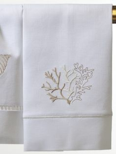 Guest Towel** - White Linen, Satin Stitch, Embroidered