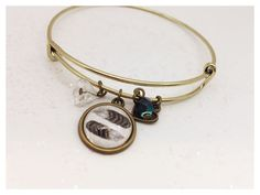 Birds of a Feather Bangle Bangles, Bracelets, Alex And Ani Charms, Bird Feathers, Bronze, Charmed, Birds, How To Wear, Jewelry