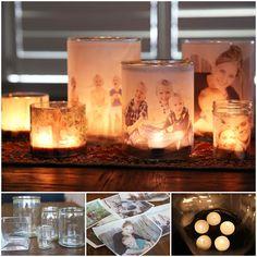 Creative Ideas - DIY Glowing Family Photo Luminary