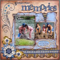 Summertime Memories Page...with lots of textured papers & trim and lacing.