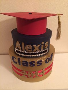 Custom Two Tiered Round Graduation Card Box by BCBoxes on Etsy, $45.00