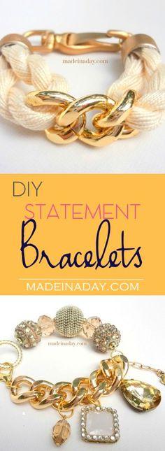 DIY Statement Bracelets, Learn to make four DIY trendy gold statement bracelets tutorials.  via @madeinaday