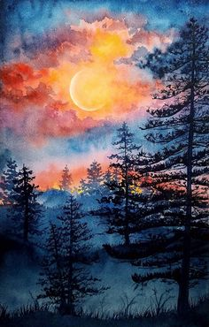 "Moonlight, Watercolor, 6x8"" : Art Watercolor Landscape Paintings, Nature Paintings, Landscape Art, Sunset Landscape, Forest Landscape, Watercolor Art Lessons, Acrylic Painting Canvas, Canvas Art, Art Pictures"