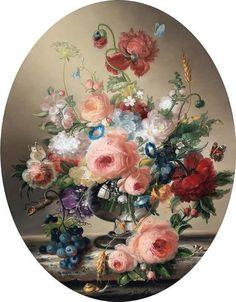 by, Hildegard sponge Berger Art Floral, Rose Oil Painting, Decoupage Printables, Paisley Art, Victorian Paintings, Chicken Art, Decoupage Art, Vintage Artwork, Botanical Art