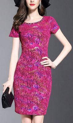 Chic O-Neck Short Sleeve Embroidery Bodycon Dress