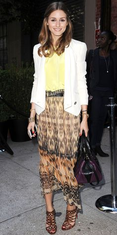 At the See by Chloe resort presentation, Palermo styled her cream Rebecca Minkoff blazer with a pale yellow top and a printed skirt. And more fittingly, carried the brand's 'Alice' satchel bag.