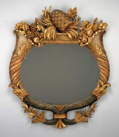 Mirror (one of a pair), early 19th century, Unknown maker (Italian or American), red pine, paint and gilding