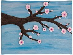 Early Bloom - Cherry Blossoms on a Branch with Blue Sky - Wall Art