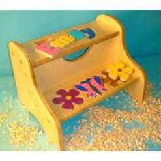 Flower/Butterfly Puzzle Name Two-Step Stool (Also available in white) :: For That Occasion