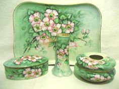 Antique Hand Painted Dresser Tray Set Boxes Talcum Shaker Limoges Porcelain, 1890-1910