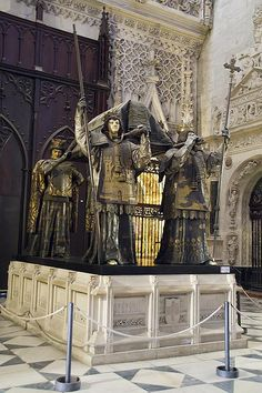 Spain, Andalucia, Sevilla, Tomb of Cristobal Colon in the Cathedral Cadiz, Granada, Malaga, Spain History, Places In Spain, Seville Spain, Christopher Columbus, Cemetery Art, Spain And Portugal