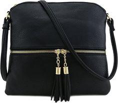 be7d57722d5a Tassel Accent Medium Crossbody Bag Black  Handbags  Amazon.com Medium  Crossbody Bags