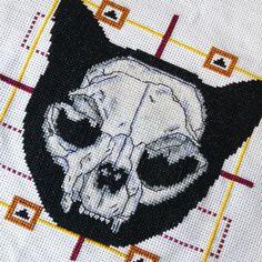 Cat Skull Cross Stitch Pattern PDF Modern Cross Stitch