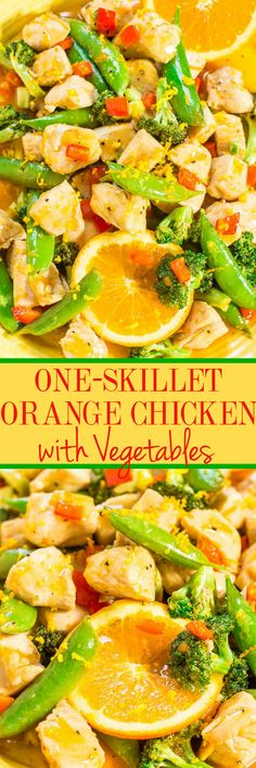 One-Skillet Orange Chicken with Vegetables - Easy, ready in 15 minutes, healthy (no breading, no frying), and the orange flavor just POPS!! Perfect for busy weeknights, a family favorite, and you'll make this over and over!! Asian Recipes, Healthy Recipes, Ethnic Recipes, Yummy Recipes, Cheap Recipes, Chinese Recipes, Healthy Dishes, Simple Recipes, Healthy Meals
