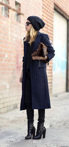 Parisian Style in Long Zara Stella Mccarney striped coat