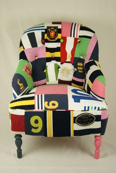 Chair made from Rugby Shirts