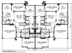 Multi-Family Plan 73032 - Mediterranean, Traditional Style Multi-Family Plan with 3312 Sq Ft, 8 Bed, 8 Bath, 6 Car Garage Family House Plans, Country House Plans, Best House Plans, Dream House Plans, Duplex Floor Plans, Garage Floor Plans, House Floor Plans, His And Hers Sinks, Duplex Design