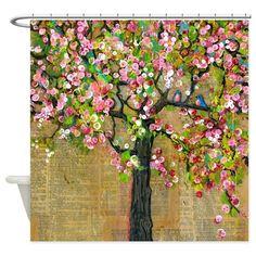 Two Birds Blossom Tree Shower Curtain on CafePress.com
