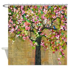 Two Birds Blossom Tree Shower Curtain on CafePress.com