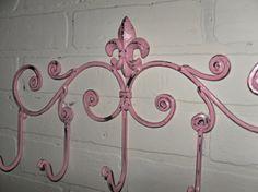 Pink Metal Hook / Fleur de Lis / Coat rack  / Shabby Chic / Indoor/Outdoor /Metal wall hook /Bathroom hook / Shabby Chic Decor