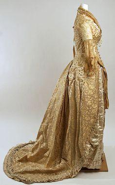 1880 silk and beaded Wedding dress, American.